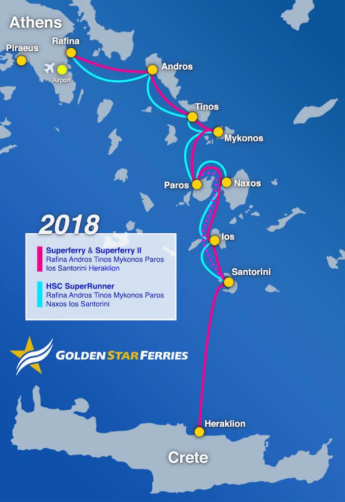 Rutas de Golden Star Ferries