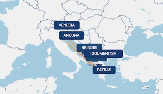 Ruta de Grimaldi Lines en Grecia