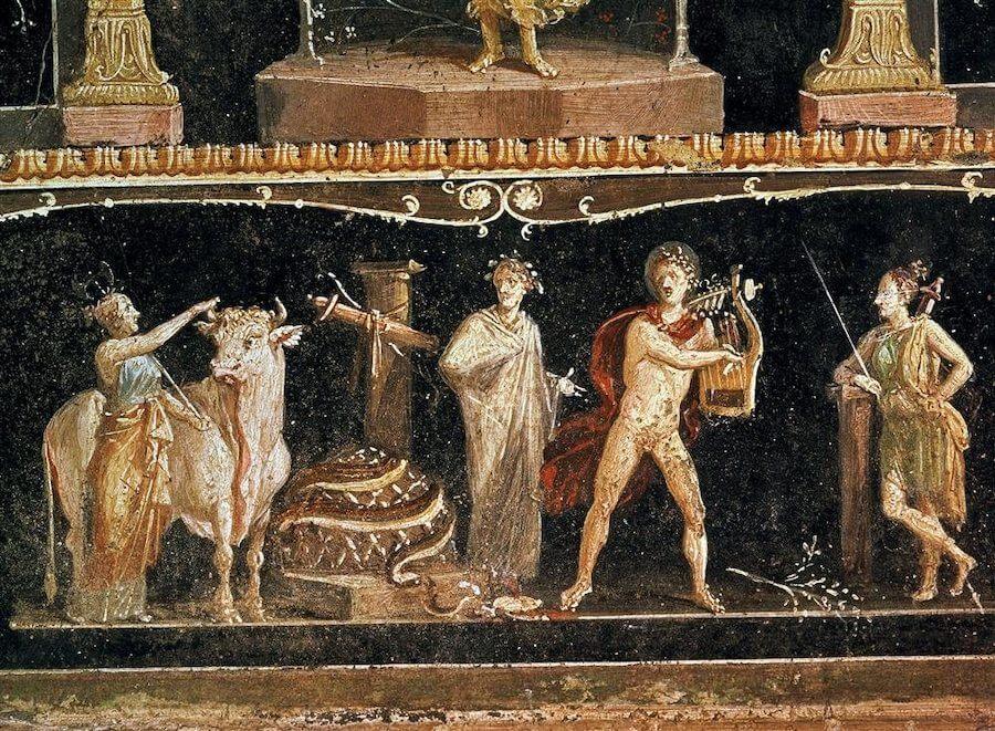 Fresco Apolo Matando serpiente Delfos