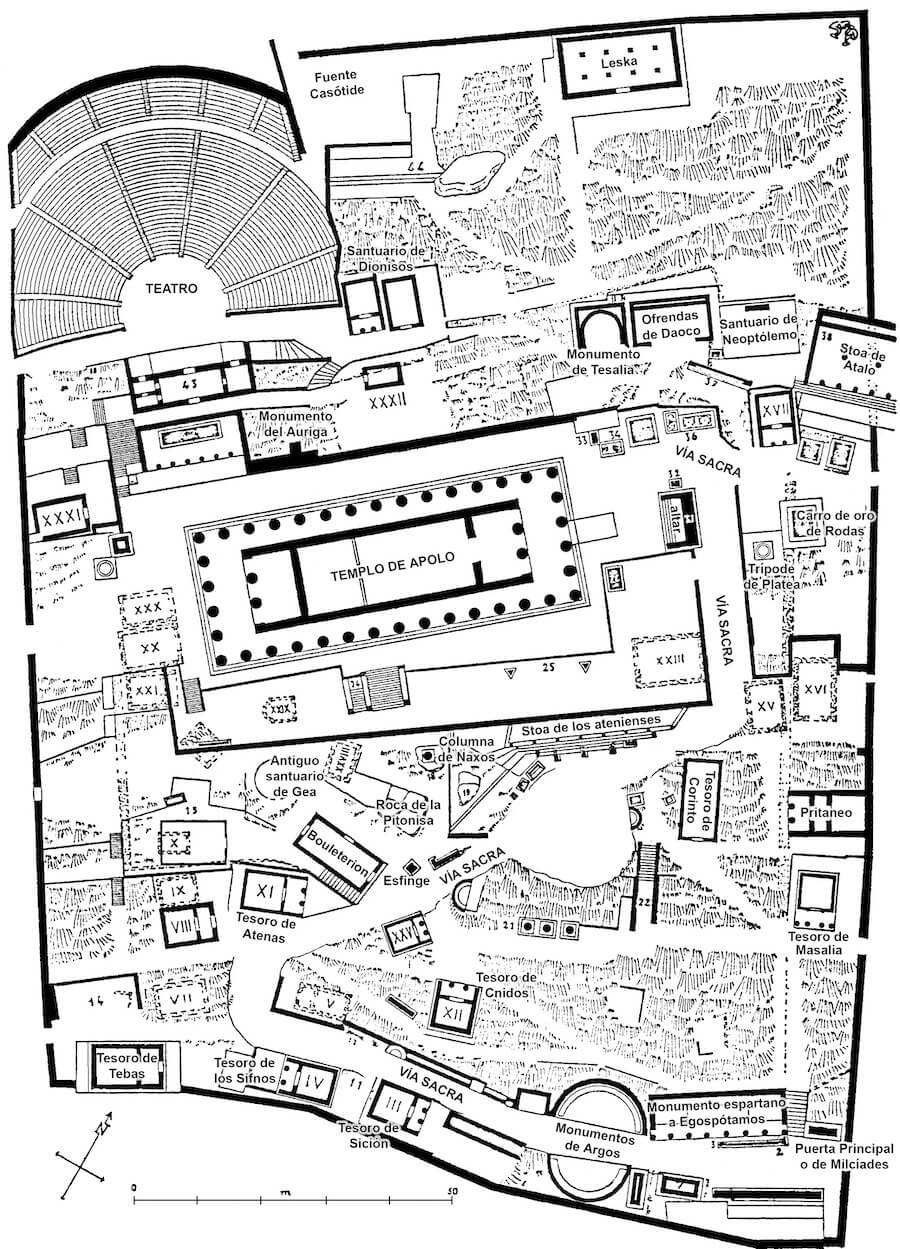 Mapa del Santuario de Apolo en Delfos