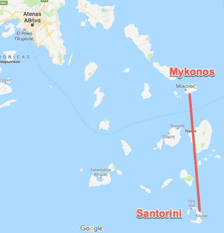 Distancia Mykonos Santorini