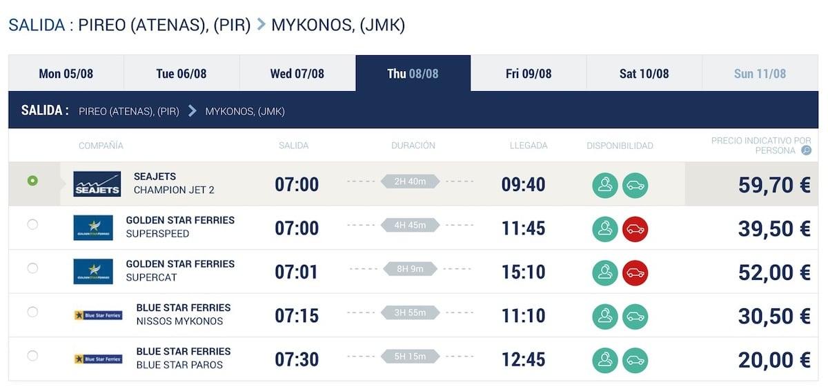 Rutas Ferry Atenas Mykonos desde El Pireo