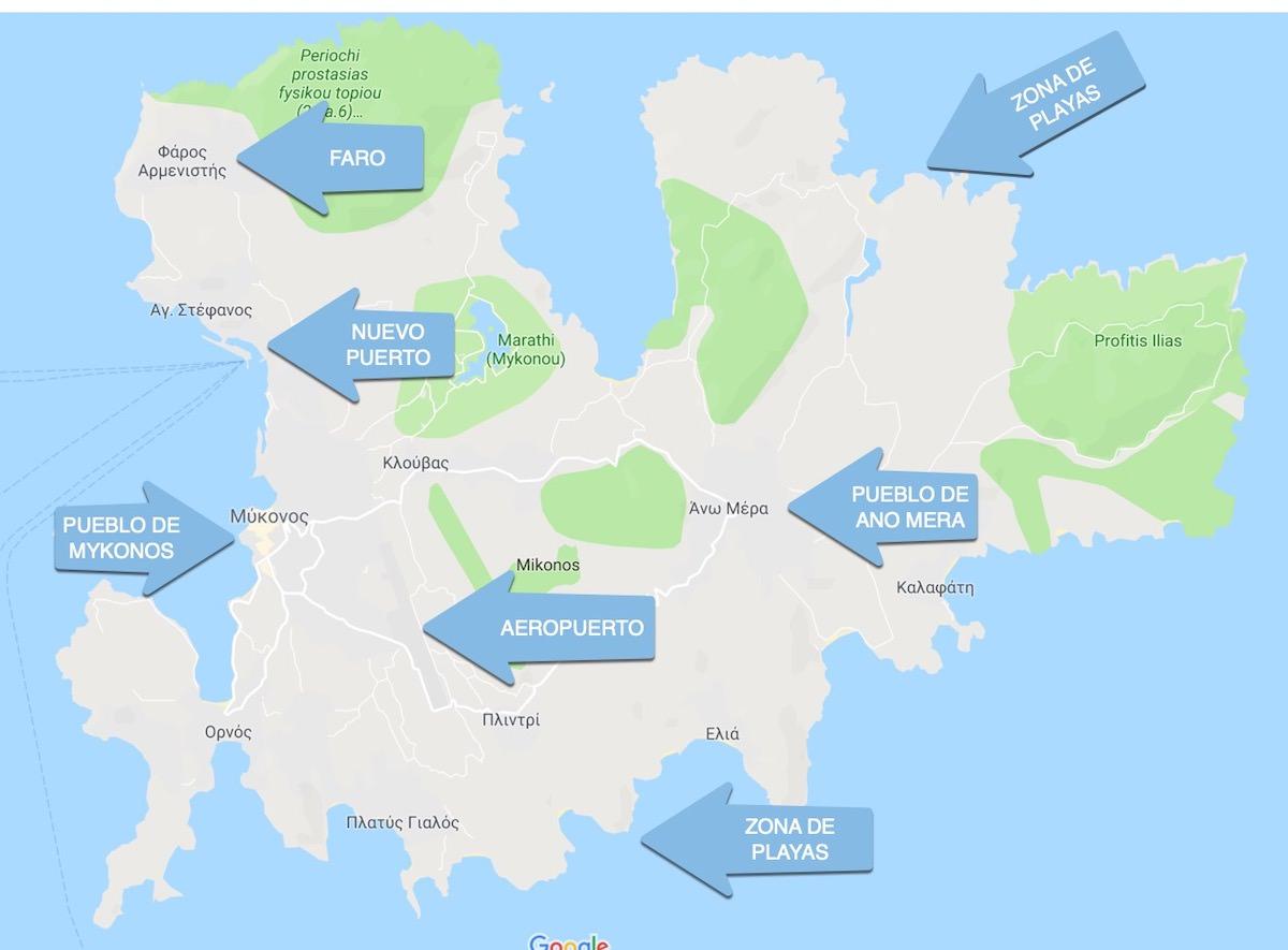 Mapa Mykonos General
