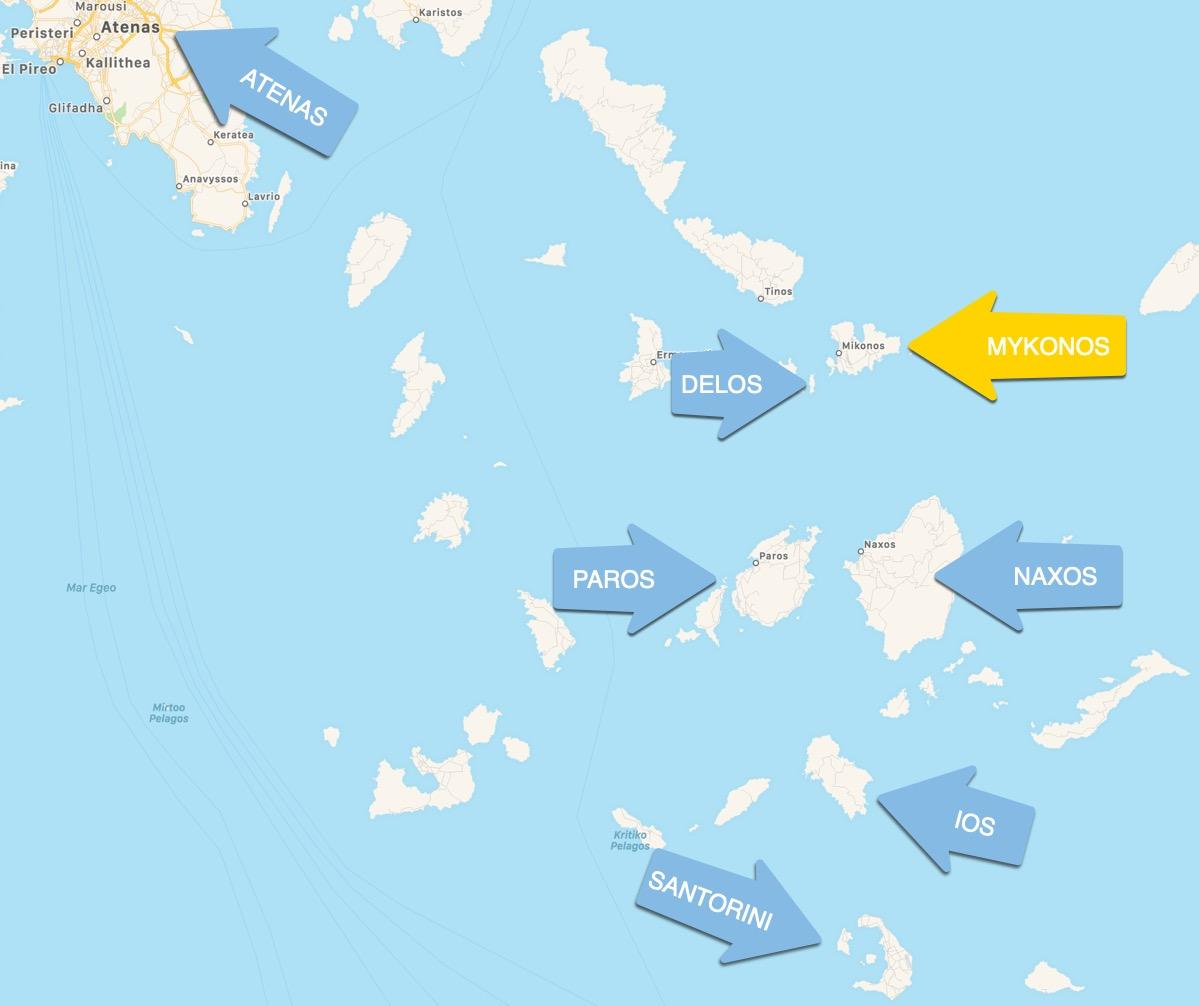 Mapa Mykonos Grecia