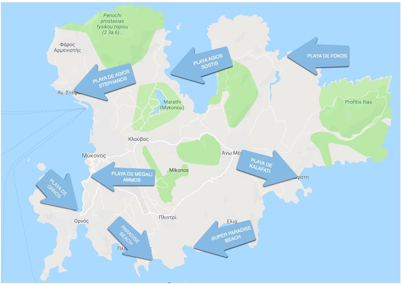 Mapa Playas de Mykonos