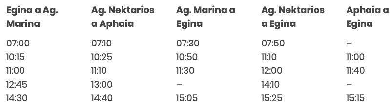 Horarios Egina Agia Marina en autobus