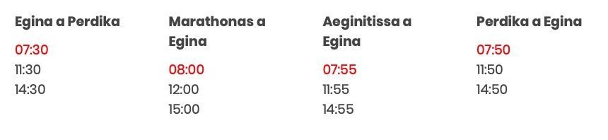 Horarios Egina Perdika en autobus