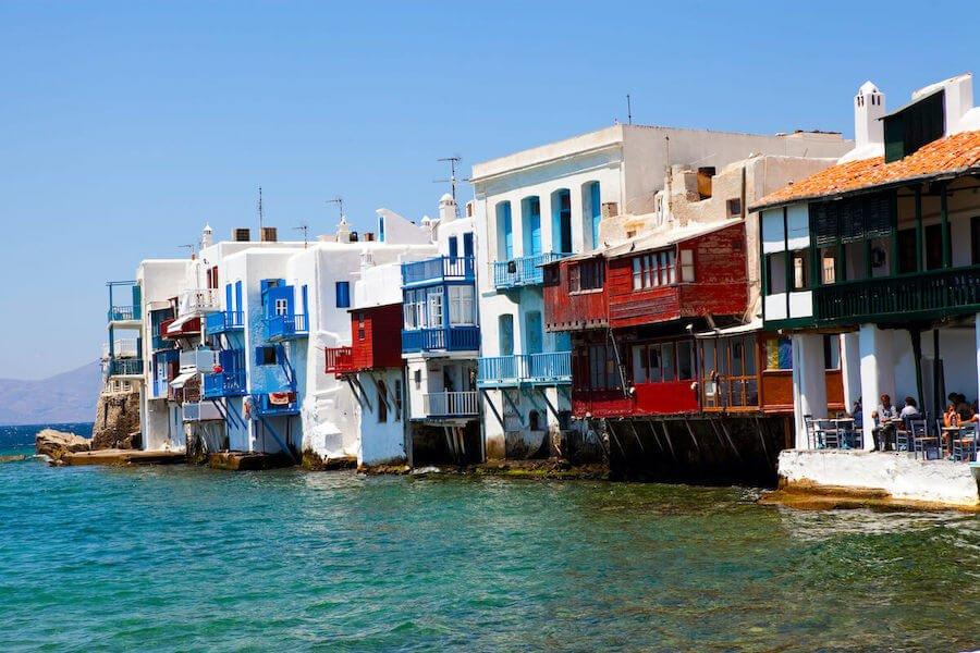 Casas en la pequeña Venecia de mykonos