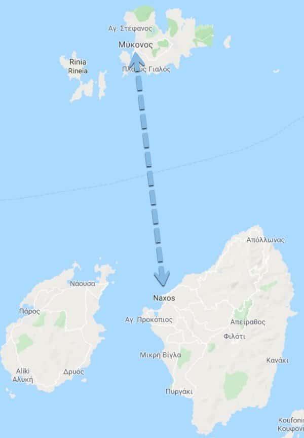Ruta Ferry Mykonos Naxos